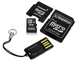 microsdhc 8gb + usb адаптер + 2 адаптера sd/minisd (kingston mblyg2/8gb)