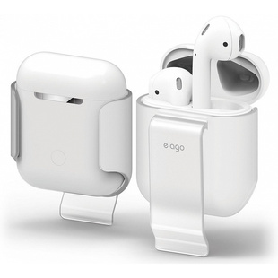 Чехол для зарядного кейса Apple AirPods (Elago AirPods Belt Clip EAP-CLIP-TR) (Frosted Transparent)